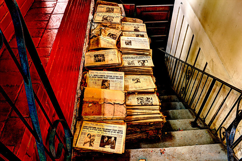 Stairs of Stories Ye Olde Colonial Restaurant an early-18th-century tavern that later functioned as a bank and a storefront. The papers are 1920 through 1949 $5 and if you give them a date they will search for it. The stairs lead to the basement that used to be a part of the restaurant serving area.