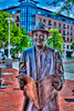 Johnny Mercer Bronzed in market square Savannah Ga. His paper upside down.  Nik HDR Pro 2, Canon T2i 18-55mm.