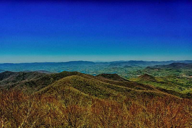 Brasstown Bald North View. Hiawassee and Hiawassee River just over first peaks. North Carolina second range. Last Range Tennessee.