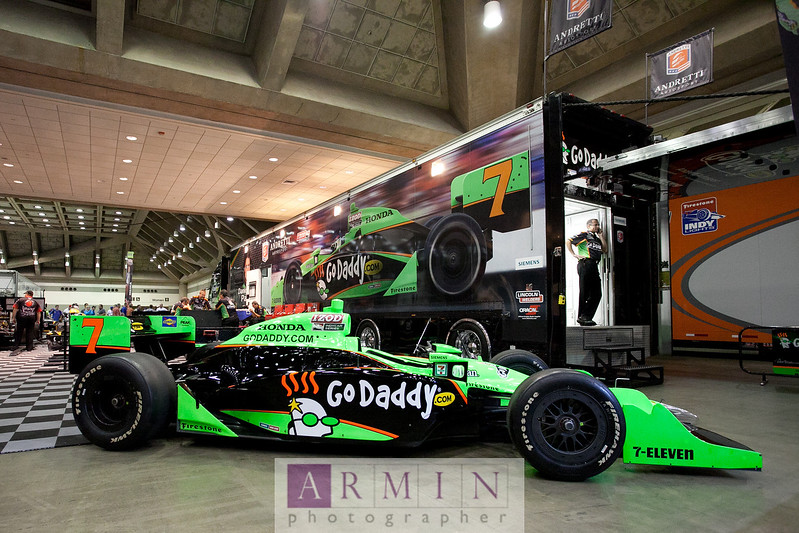 "IndyCar star Danica Patrick's #7 GoDaddy.com car. Read all about my IndyCar coverage at <a href=""http://www.arminblog.com/?p=6272"">http://www.arminblog.com/?p=6272</a>."