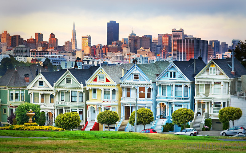 Painted Ladies with cityscape in the background from Alamo Square, San Francisco, California
