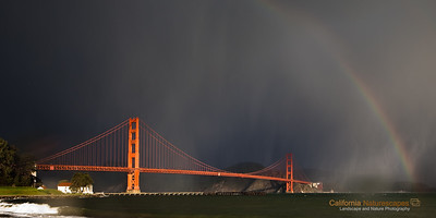 """Golden Gate and Rainbow"" Location: Crissy Field, San Francisco, California.  It does not rain much in California, but when it does it can sometimes create very unique lighting conditions. The early morning light on the bridge had wonderful contrast against the dense storm clouds behind the bridge. Adding to the drama the rain had started pouring and even created a rainbow. Soon afterwards the rain caught up to me but I was ready with my rain gear :)  Tech Info and Tip: Lens: Canon 24-70mm f/2.8L @24mm Camera: Canon 5D Mk II Exposure: 1/15sec at f/8 and ISO 50 Filters: Circular polarizer  The circular polarizer helps darken the sky and bring out the contrast in the scene."