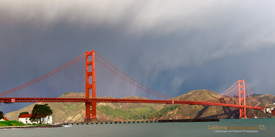 """Golden Gate Bridge and Rain"" Location: Crissy Field, San Francisco, California.  I always like to visit Golden Gate area. It is such an inspiring engineering feat and an aswsome icon by itself. But watching from Crissy Field with the hills Marin Headlands in the background and rain clouds above is just that much more special. The fog like impressions above the bridge is actually rain which had just started before I clicked this image. The long exposure captued the trail of raindrops in the sky and also erased the distractions in water. I liked how it turned out in the end.  Tech Info and Tip: Lens: Canon 24-70mm f/2.8L @51mm Camera: Canon 5D Mk II Exposure: 6sec at f/13 and ISO 50 Filters: Circular polarizer  The circular polarizer helps darken the sky and bring out the contrast in the scene."