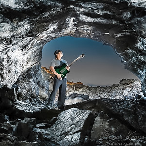 Musician Kevin Teves in the Lava Tube Cave ©2017 Ranae Keane-Bamsey Photography www.EMotionGalleries.com