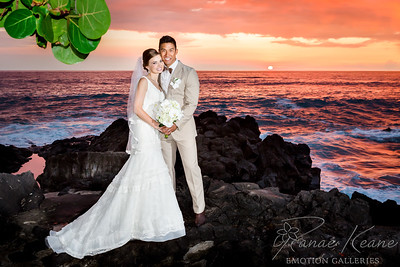 Amanda and Mike wed during a firey sunset on Hawaii Island ©2017 Ranae Keane-Bamsey Photography www.EMotionGalleries.com