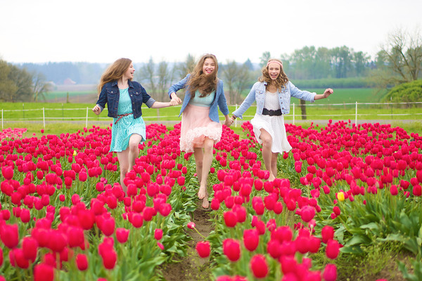 Skipping through the tulips