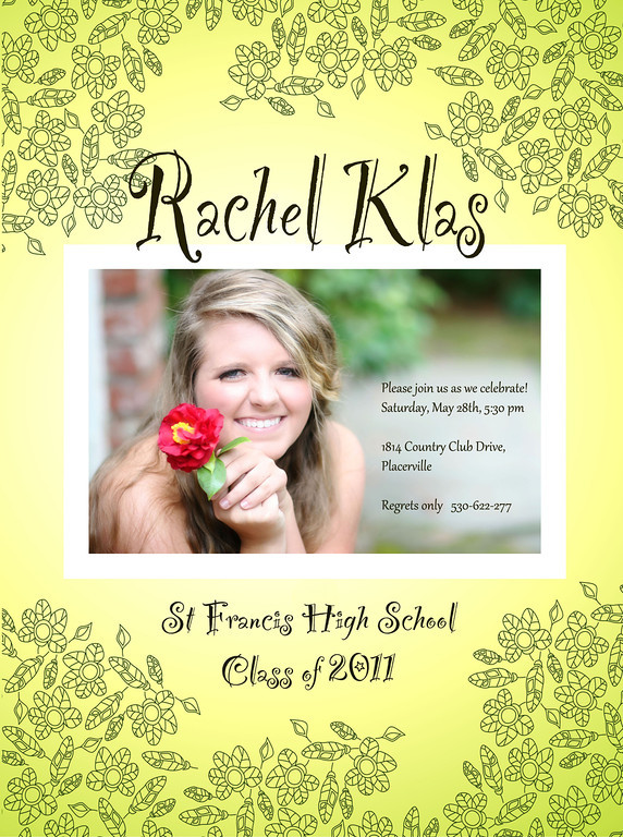 Rachel Floral Invite - choose one horizontal card and personalized text