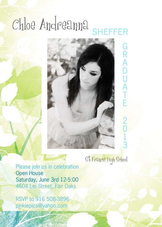 "Banner Grad Party Invite allows you to ""pop"" the party information within a white or color strip."