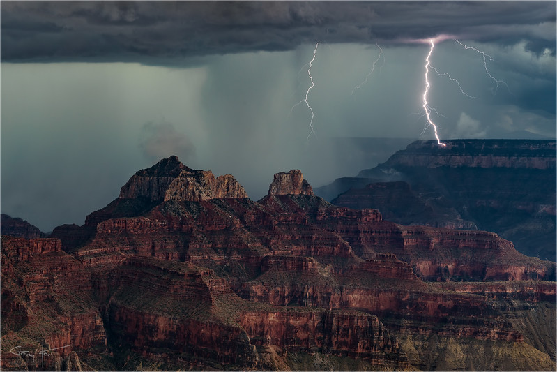 Direct Hit, South Rim Lightning Strike, Grand Canyon Lodge (North Rim)