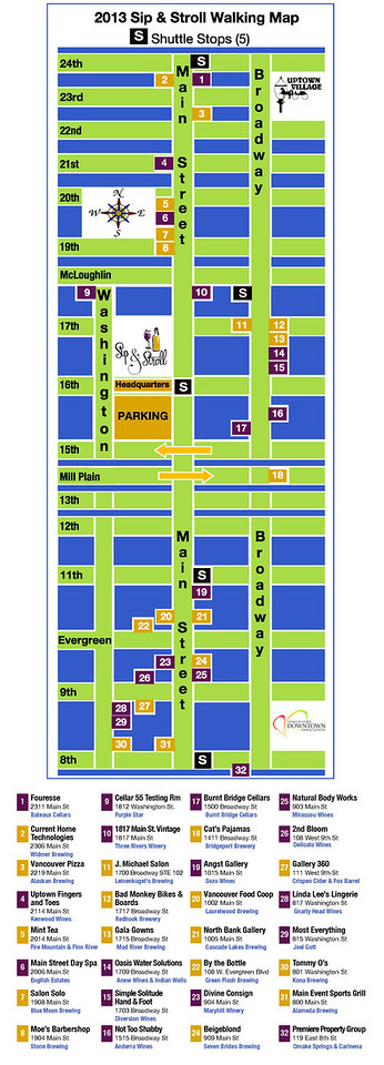 Sip and Stroll Event Map 2013