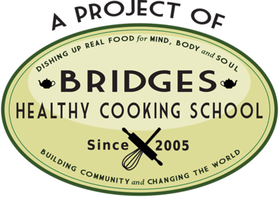 Logo for Bridges Healthy Cooking School, the 501c3 that runs the Coventry Regional Farmers Market