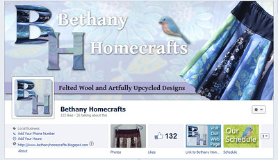 Bethany Homecrafts cover photo and tabs with custom icons www.facebook.com/bethanyhomecrafts
