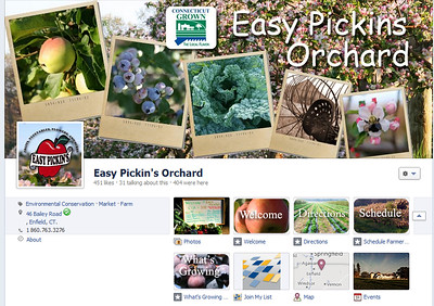 Easy Pickins Orchard cover photo and tabs with custom icons www.facebook.com/easypickinsorchard