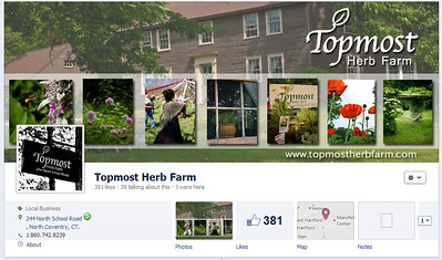 Topmost Herb Farm cover photo and tabs with custom icons www.facebookcom/topmostherbfarm