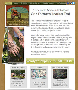 Website design in collaboration with Winter Caplanson (Bridges Healthy Cooking School) www.farmersmarkettrail.com desktop and mobile versions. Features: interactive Mapquest maps, Google calendar integration and more. Maintained by Sue Muldoon Images LLC