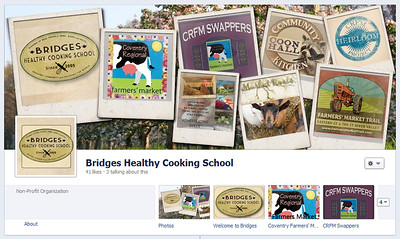 Bridges Healthy Cooking School cover photo and tabs with custom icons www.facebook.com/bridgeshealthycookingschool