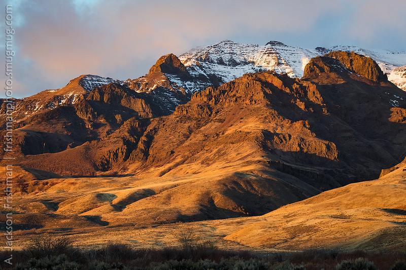 Sunrise on the east face of Steens Mountain, Oregon, November 2017.