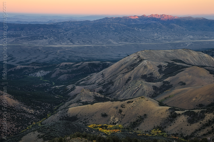 Autumn aspens and sunset light, looking from the Monitor Range to the Hot Creek Range, Nevada, October 2014.