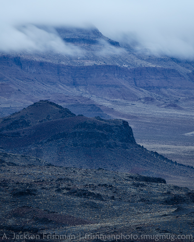 Descending fog on Big Fault Mesa, Pancake Range, Nevada, February 2014.