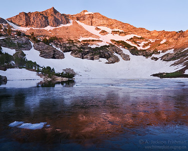Day dawns over icy Lamoille Lake, Ruby Mountains, Nevada, July 2011.