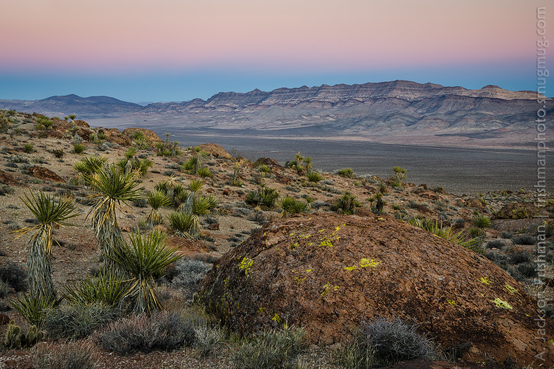 Twilight in southeastern Nevada - foreground is the Delamar Range, background is the Meadow Valley Range. January 2015.