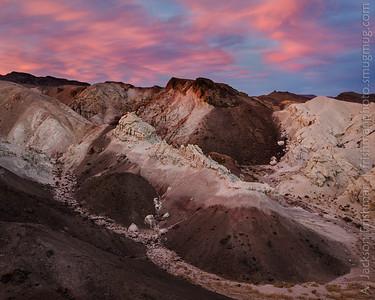 Sunset over badlands, Esmeralda County, Nevada, November 2013.