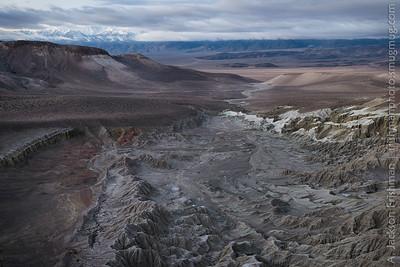 Badlands of Esmeralda County Nevada with a view towards White Mountain Peak, February 2015.