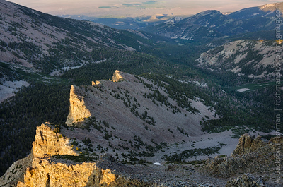 Evening light on Baker Creek drainage and Snake Valley, Great Basin National Park, Nevada, July 2011.