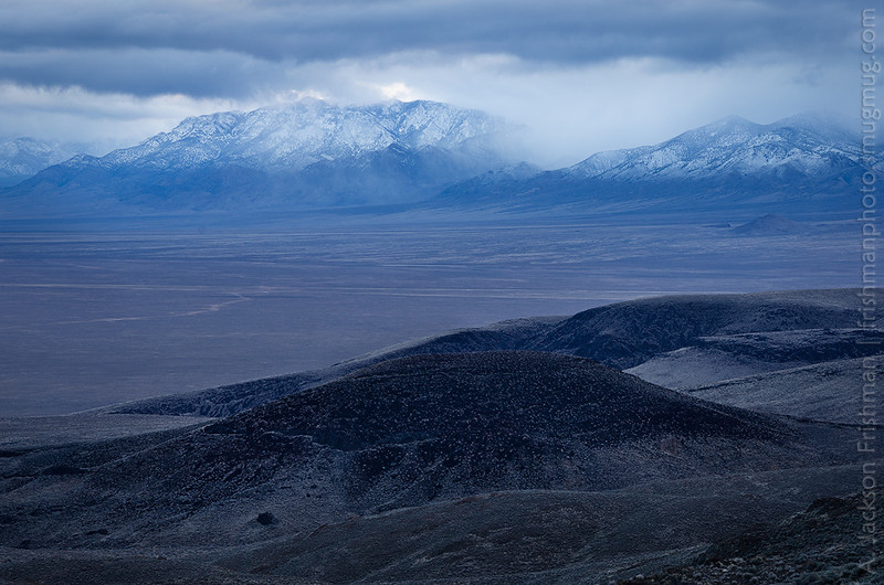 Lifting snowstorm over Railroad Valley and the Quinn Canyon Range, Nye County, Nevada, March 2014.