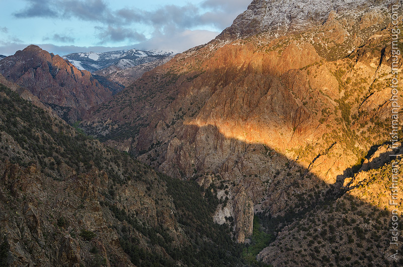 Sunrise light illuminates the South Twin River Canyon, Arc Dome Wilderness, Nevada, May 2015.
