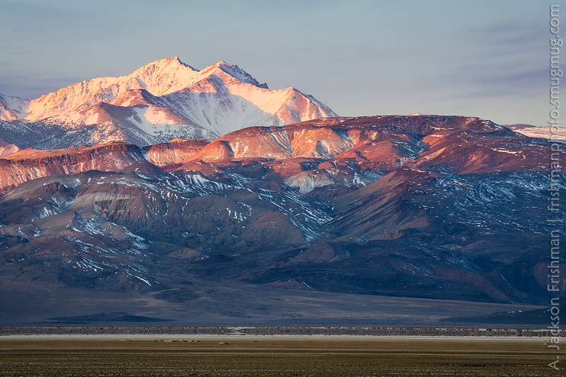 Sunrise on Boundary Peak and the Volcanic Hills, Esmeralda County, Nevada, April 2016.