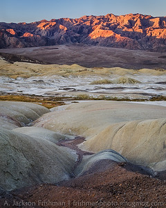 Sunrise on Tucki Mountain above the Salt Creek badlands, Death Valley, California, December 2015.