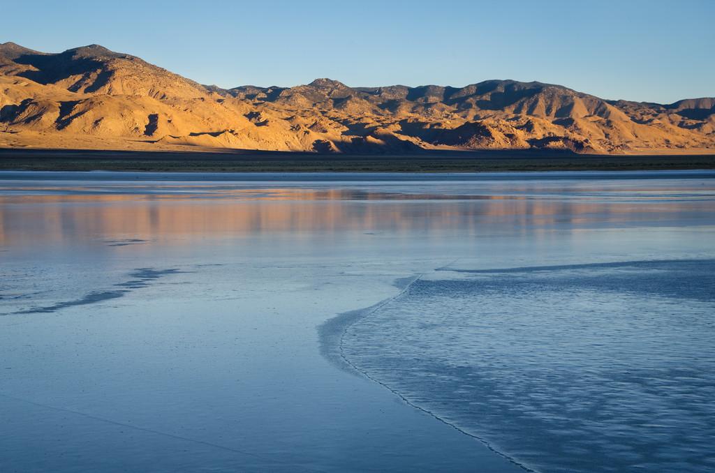 Sunrise light over the frozen playa of Deep Springs Lake