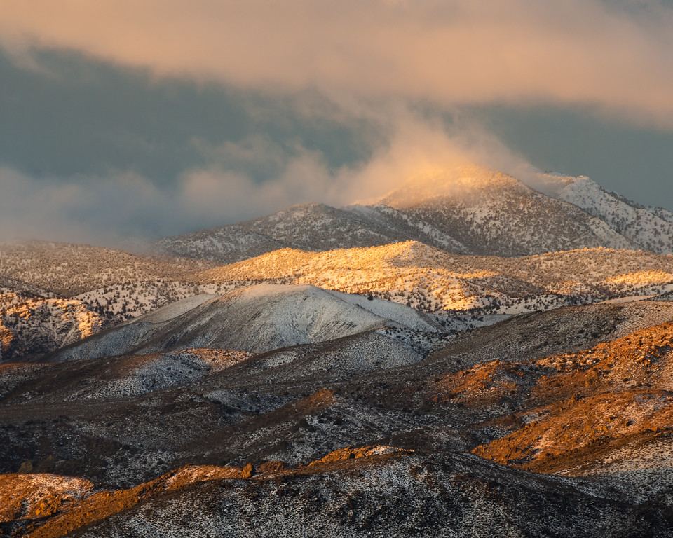 Winter sunrise on Black Mountain above Deep Springs Valley