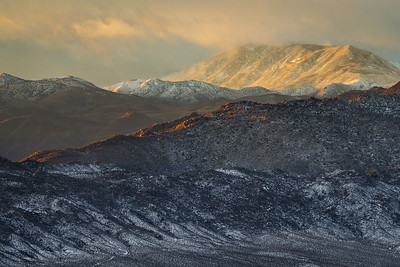 Waucoba Mountain catches sunrise light above Deep Springs Valley