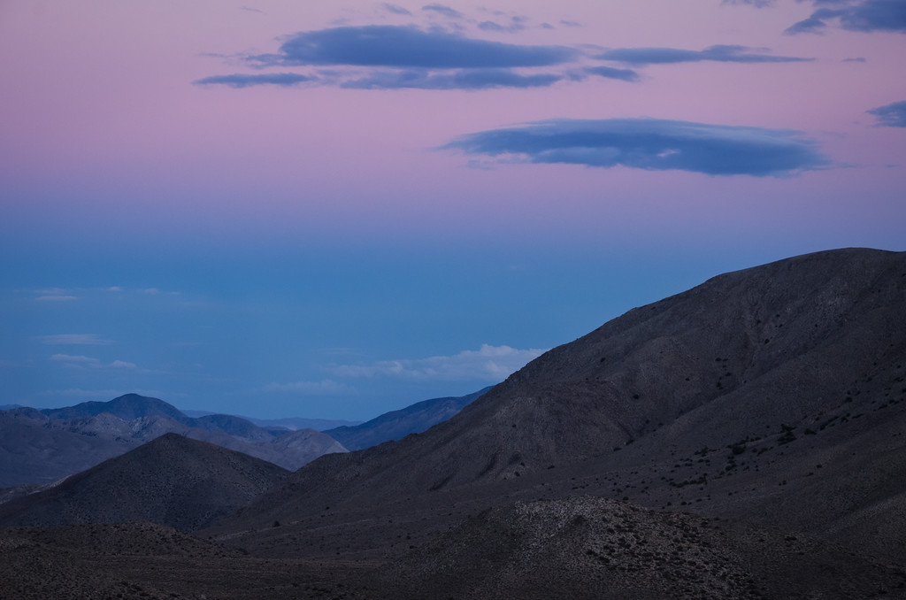 Twilight looking from the White Mountains to the Sylvania Range