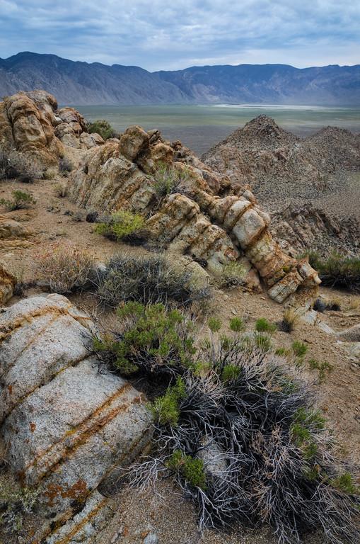 Striped granite ridge looking towards Deep Springs Lake