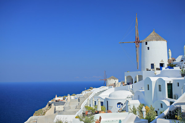 Windmill on the island of Santorini, Greece