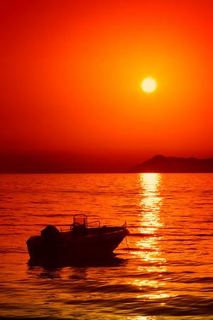 Sunset on Corfu island, Greece
