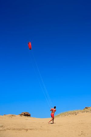 Person flying a kite at the beach