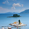 A view of a church and mouse island on Corfu, Greece
