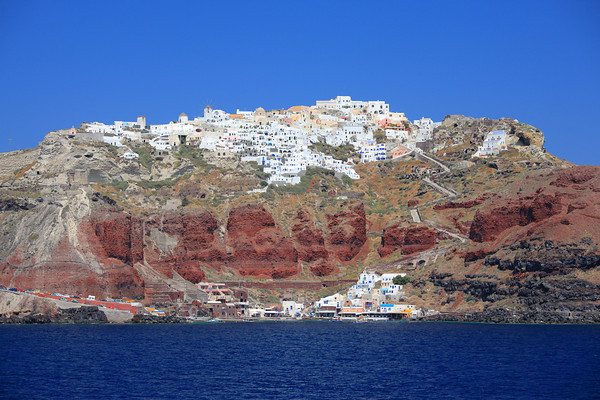 Fira (Thira) town seen from the sea on Santorini island, Greece