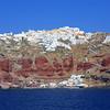 Fira (Thira) town seen from the sea on Santorini island, Greece