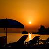 Sunset at Glifada beach, Corfu island, Greece