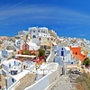 Panorama of Oia village on Santorini Island, Greece