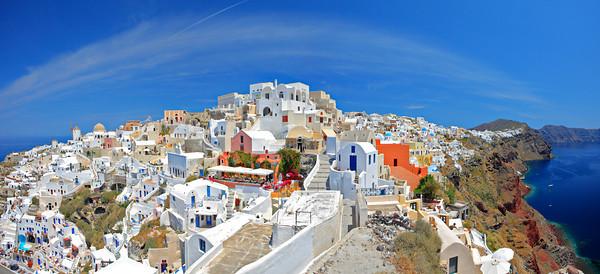Panorama of Oia village on Santorini Island, Greece