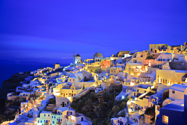 Oia village on Santorini island, Greece at nighttime