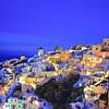 Oia village on Santorini island, Greece at nighttime