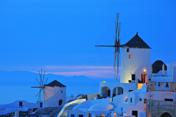 Windmill in Oia village on Santorini island, Greece