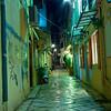 Alley at night on Corfu island, Greece